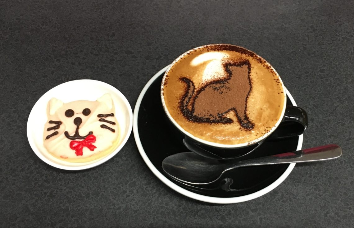Coffee and cookie in cat style